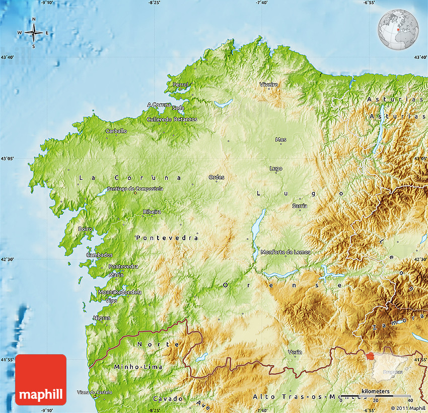 Physical Map of Galicia