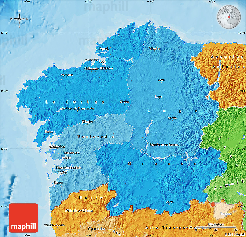 Political Shades Map Of Galicia