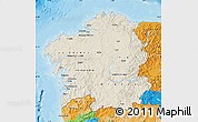 Shaded Relief Map of Galicia, political outside
