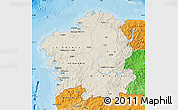 Shaded Relief Map of Galicia, political shades outside