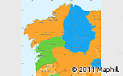 Political Simple Map of Galicia