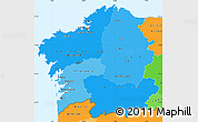 Political Shades Simple Map of Galicia