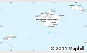 Silver Style Simple Map of Baleares