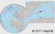 Gray Location Map of Islas Baleares