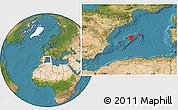 Satellite Location Map of Islas Baleares