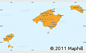 Political Simple Map of Islas Baleares, single color outside