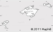 Silver Style Simple Map of Islas Baleares, cropped outside