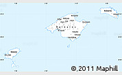 Silver Style Simple Map of Islas Baleares