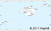 Silver Style Simple Map of Islas Baleares, single color outside