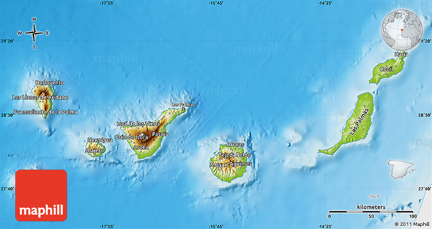 physical map of islas canarias  single color outside