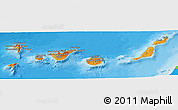 Political Shades Panoramic Map of Islas Canarias