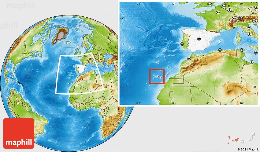 Physical Location Map Of Santa Cruz De Tenerife Highlighted - Tenerife on a world map
