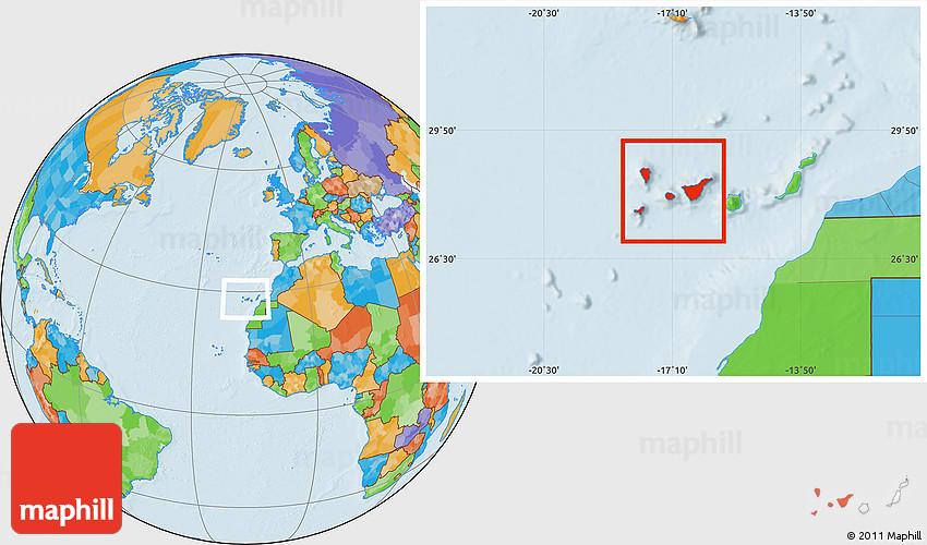 map of santa cruz de tenerife Political Location Map Of Santa Cruz De Tenerife map of santa cruz de tenerife