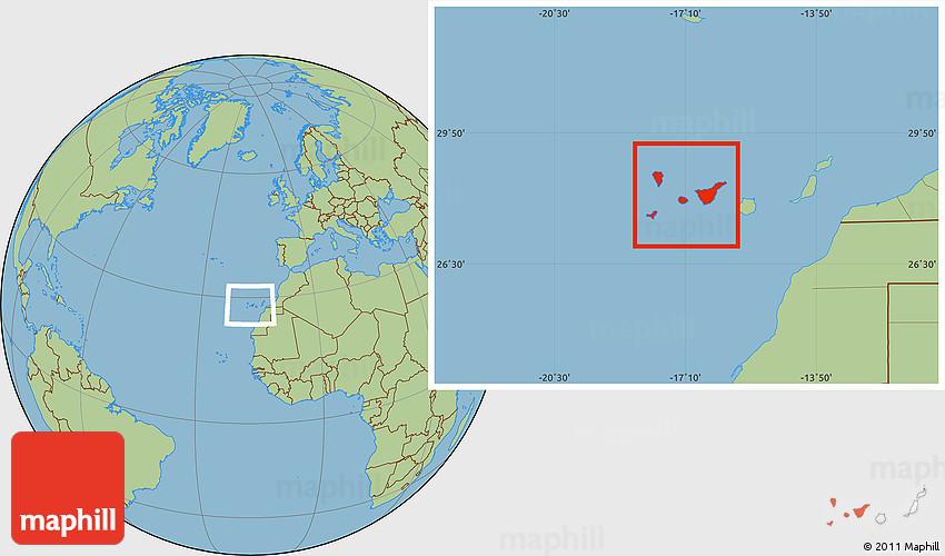 Savanna Style Location Map of Santa Cruz De Tenerife