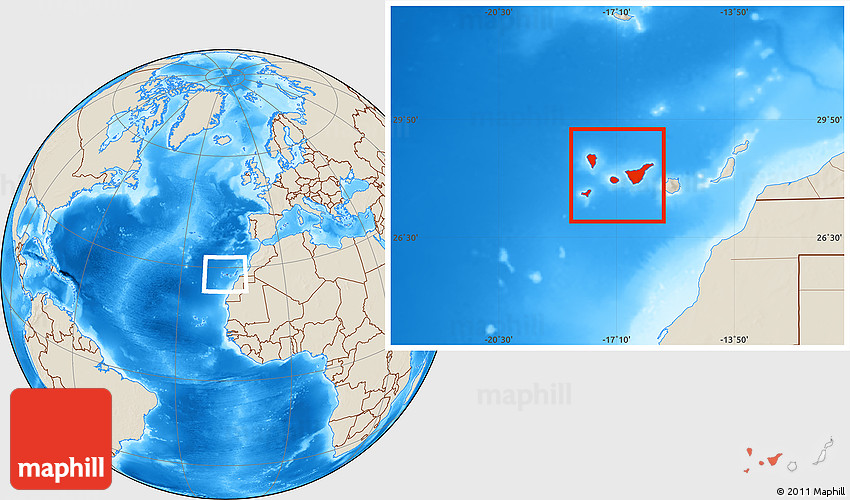Shaded Relief Location Map of Santa Cruz De Tenerife