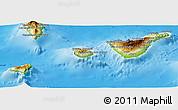 Physical Panoramic Map of Santa Cruz de Tenerife
