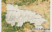 Shaded Relief Map of La Rioja, satellite outside