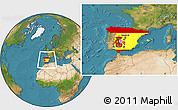 Flag Location Map of Spain, satellite outside