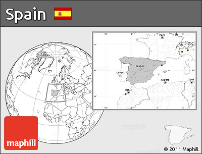Gray Location Map of Spain, blank outside