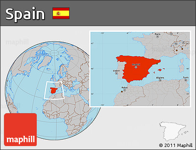Gray Location Map of Spain