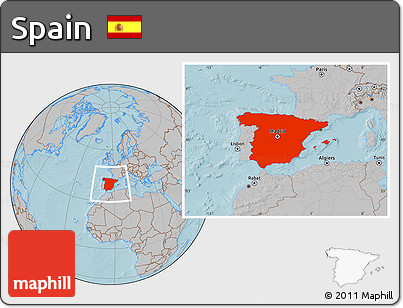 Gray Location Map of Spain, hill shading