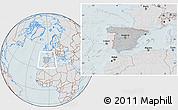 Gray Location Map of Spain, lighten, hill shading