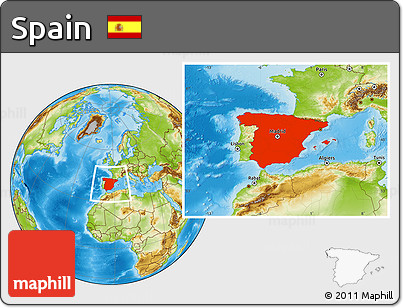 Physical Location Map of Spain