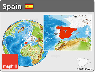 Free Physical Location Map Of Spain Highlighted Continent - Where is spain located