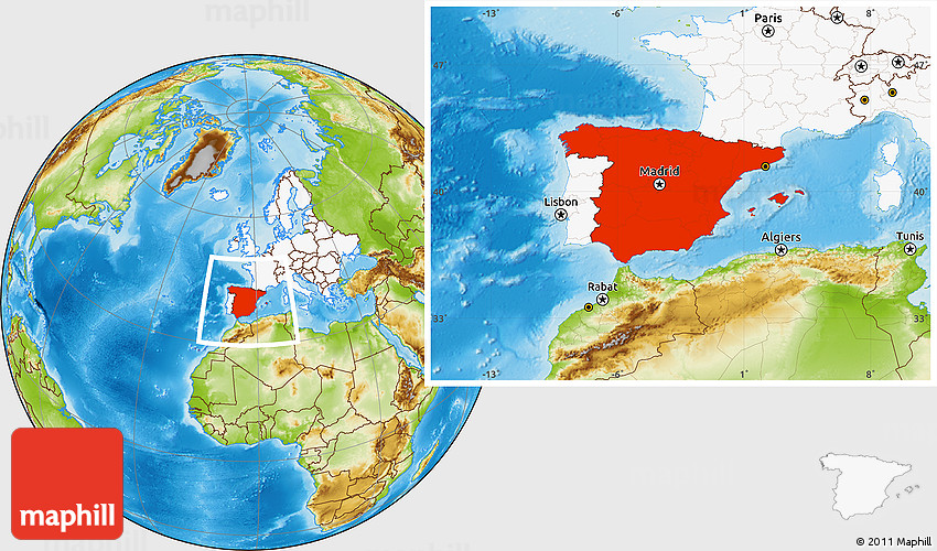 Physical Location Map Of Spain Highlighted Continent - Where is spain located