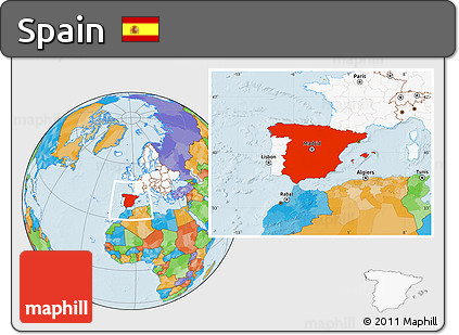 ... Highlighted Continent Political Location Map Of Spain, Highlighted  Continent