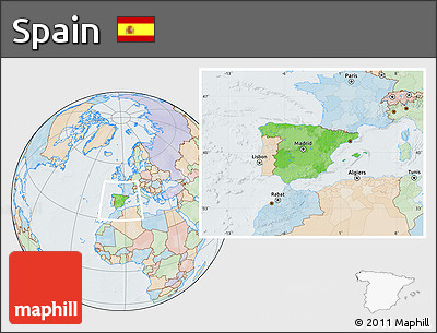 Political Location Map of Spain, lighten