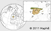 Satellite Location Map of Spain, blank outside