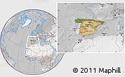 Satellite Location Map of Spain, lighten, desaturated