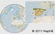 Satellite Location Map of Spain, lighten