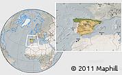 Satellite Location Map of Spain, lighten, semi-desaturated