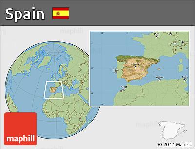 Satellite Location Map of Spain, savanna style outside