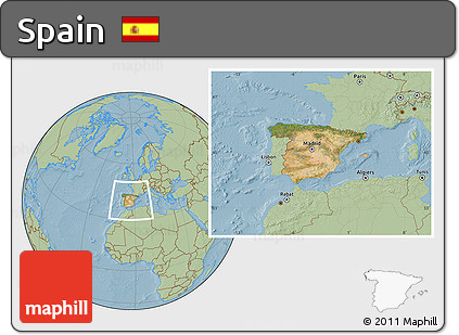 Satellite Location Map of Spain, savanna style outside, hill shading