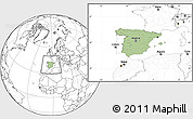 Savanna Style Location Map of Spain, blank outside