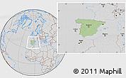 Savanna Style Location Map of Spain, lighten, desaturated