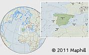 Savanna Style Location Map of Spain, lighten, hill shading