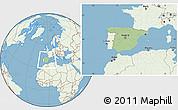 Savanna Style Location Map of Spain, lighten, land only