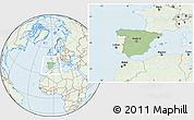 Savanna Style Location Map of Spain, lighten
