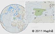 Savanna Style Location Map of Spain, lighten, semi-desaturated, hill shading