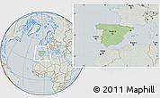 Savanna Style Location Map of Spain, lighten, semi-desaturated