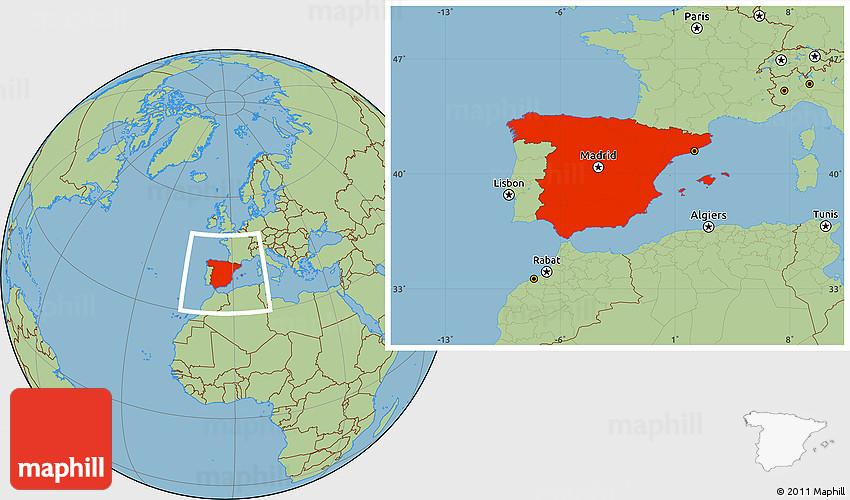 Savanna Style Location Map of Spain