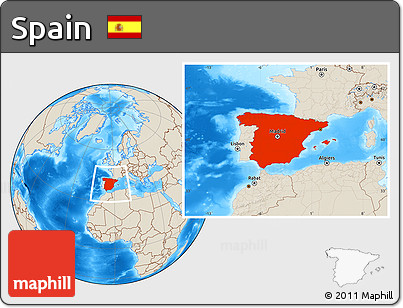 Shaded Relief Location Map of Spain