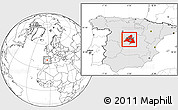 Blank Location Map of Madrid, highlighted country