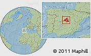 Savanna Style Location Map of Madrid, hill shading