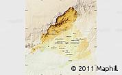 Physical Map of Madrid, lighten