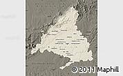 Shaded Relief Map of Madrid, darken